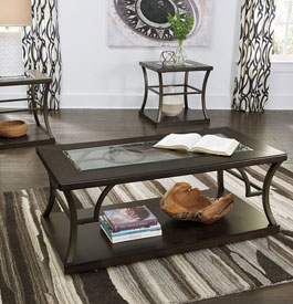 Glass and metal coffee table and side tables in black color