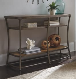Metal console table in brown color