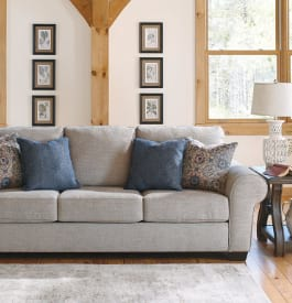Fabric living room sofa in light gray color