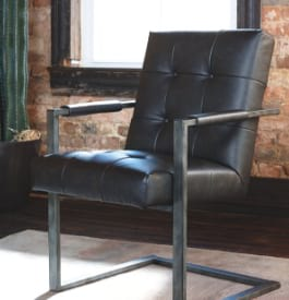 Vinyl and metal home office chair in black color