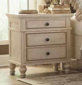 Small wood nightstand in beige color