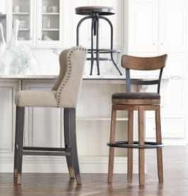 Vinyl, wood, and metal bar stools in beige, brown, and gray colors