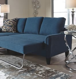 Fabric sleeper sofa in bright blue color