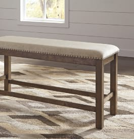 Wood and vinyl dining room bench in brown and beige colors