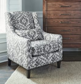 Fabric living room chair in white and gray pattern color