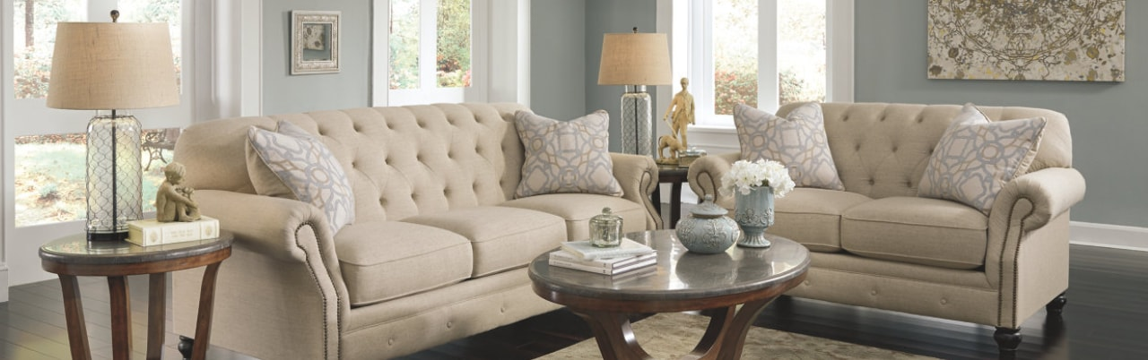 Fabric living room sofa and loveseat in beige color