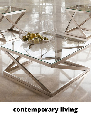 Glass and metal coffee table and side table set in silver color