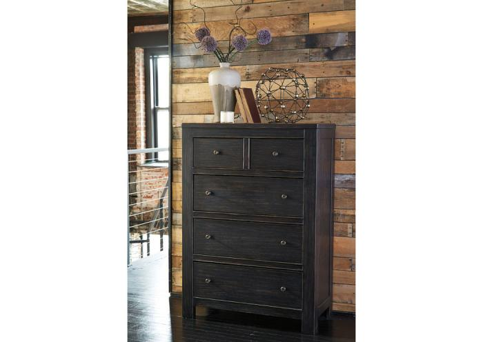 Home Furniture And Accessories Wesling Black 5 Drawer Chest