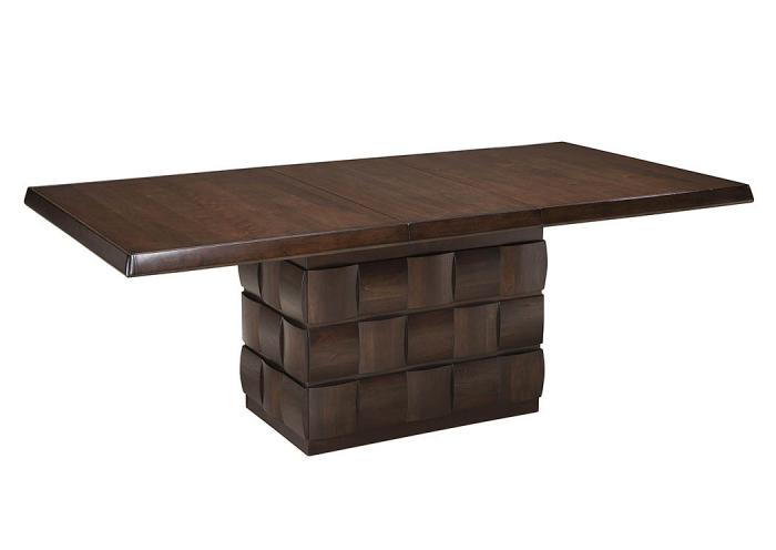 Chanella Dark Brown Rectangular Dining Room Pedestal Extension Table