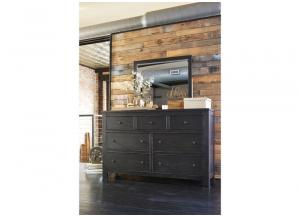 Wesling Black 7 Drawer Dresser