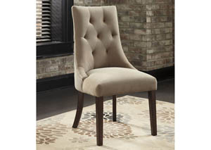 Mestler Light Brown Upholstered Side Chair