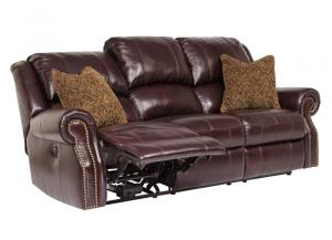 Walworth Black Cherry Reclining Power Sofa
